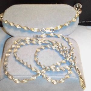 Jewelry - Real silver & gold necklace w/ matching bracelet
